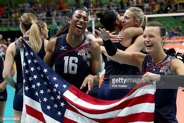 Foluke Akinradewo of the United States celebrates after match point during the Women's Bronze Medal Match between Netherlands and the United States...