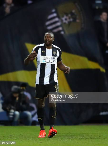 Foluwashola Ameobi of Notts County celebrates after his side score their first during The Emirates FA Cup Fourth Round match between Notts County and...