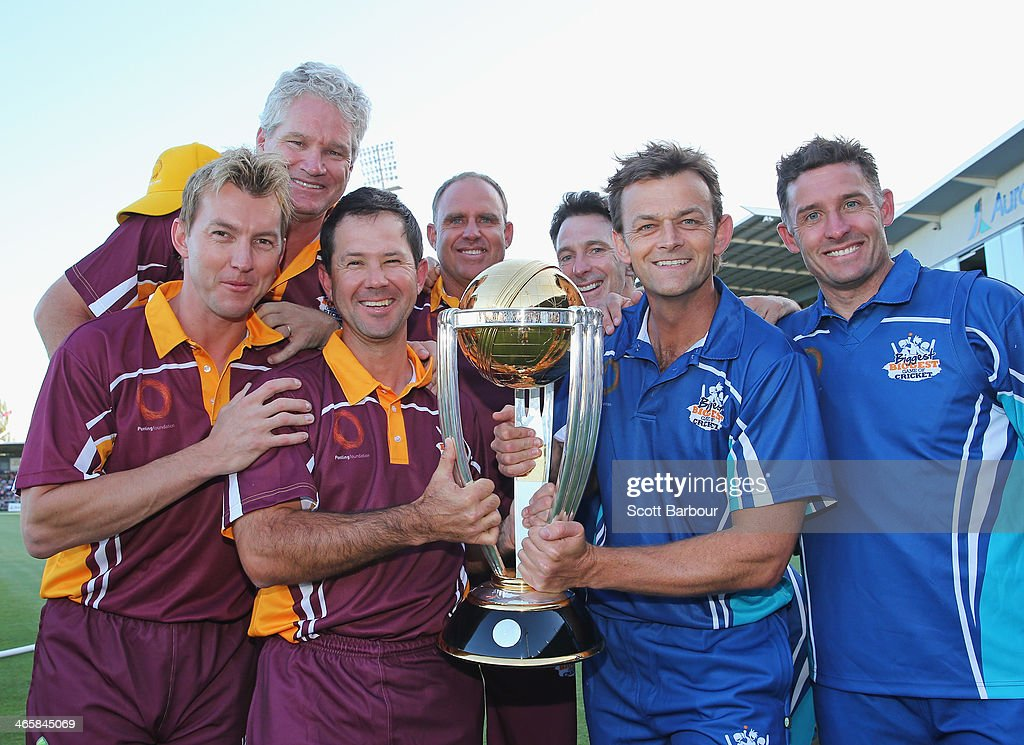 Fomer Australian Cricket World Cup players Dean Jones, Brett Lee, Michael Hussey, Ricky Ponting, Matthew Hayden, Damien Fleming and Adam Gilchrist pose with the the ICC Cricket World Cup trophy during the Ricky Ponting Tribute Match at Aurora Stadium on January 30, 2014 in Launceston, Australia.