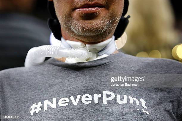 Fomer New Orleans Saints Steve Gleason who suffers from ALS wheres a shirt with the hastag #NeverPunt before a game between the New Orleans Saints...