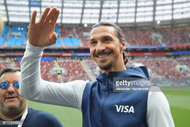 Fomer Sweden International Zlatan Ibrahimovic looks on prior to the 2018 FIFA World Cup Russia group F match between Germany and Mexico at Luzhniki...
