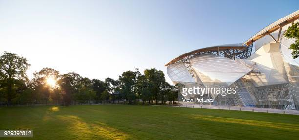 Fondation Louis Vuitton Paris France Architect Gehry Partners LLP 2014 Panoramic elevation with park and ground floor entrance