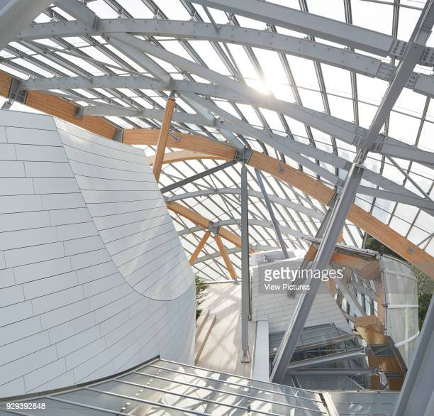 Fondation Louis Vuitton Paris France Architect Gehry Partners LLP 2014 Detail of glass sails and supporting wood and steel structure