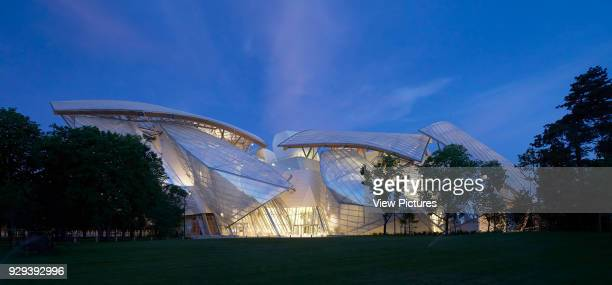 Fondation Louis Vuitton Paris France Architect Gehry Partners LLP 2014 Night elevation from park