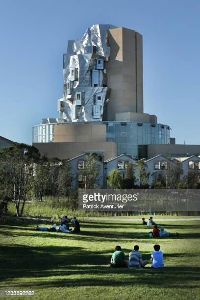 Fondation Luma opening in Arles, south of France on July 7, 2021 in Arles, France.The twisting tower clad in reflective aluminium tiles, designed by...