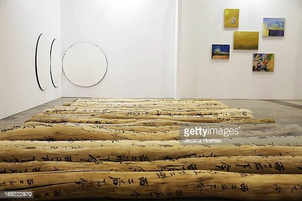 'Fondle' 20092013 and 'Circles' 2012 by Yang Xinguang represented by the Boers Li Gallery are diplayed at Art Basel May 22 2013 in Hong Kong