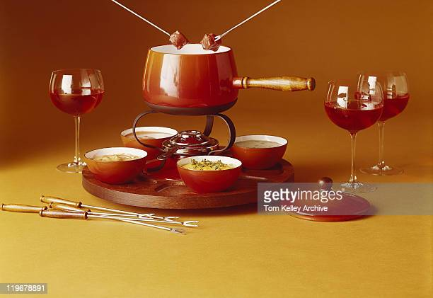 Fondue with red wines
