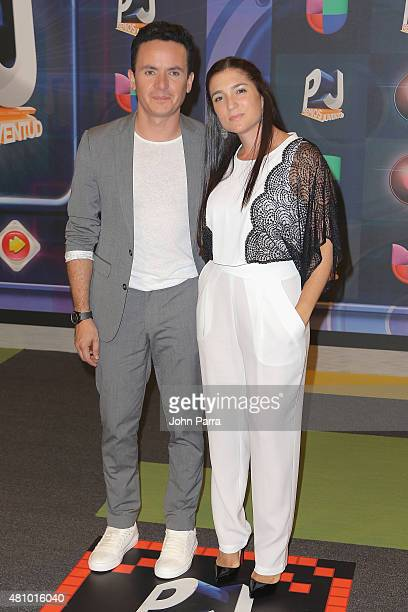 Fonseca and wife Juliana Posada attend Univision's Premios Juventud 2015 at Bank United Center on July 16 2015 in Miami Florida