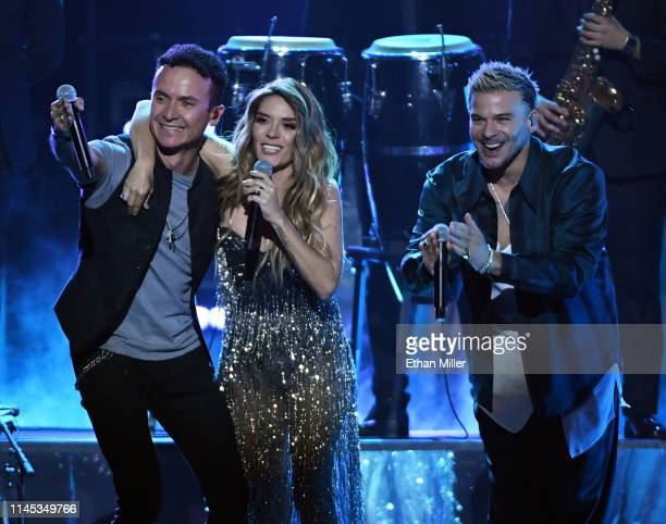 Fonseca Kany Garcia and Pedro Capo perform during the 2019 Billboard Latin Music Awards at the Mandalay Bay Events Center on April 25 2019 in Las...
