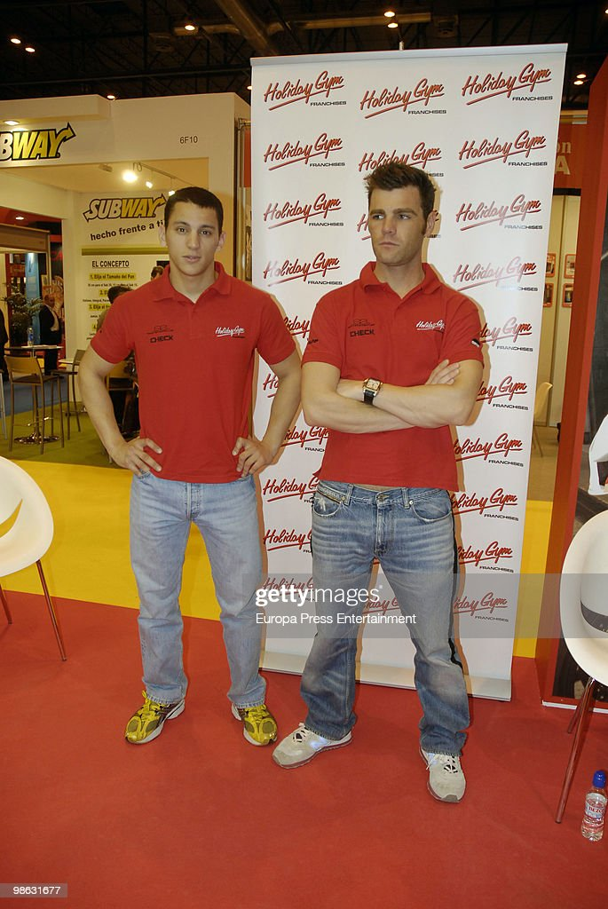 Fonsi Nieto and Yannick Guerra attend 'Expofranquicia' on April 23, 2010 in Madrid, Spain. Nieto and Guerra are the ambassadors of 'Holiday Gym'.