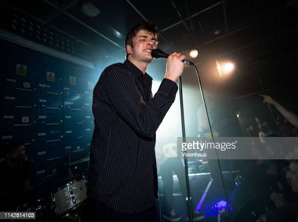Fontaines DC Lead singer Grian Chatten performs with the band at Gorilla on April 13, 2019 in Manchester, United Kingdom.