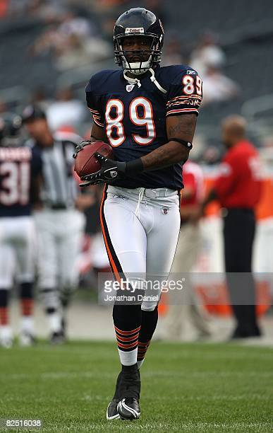 Fontel Mines of the Chicago Bears catches a pass during warmups before a game against the San Francisco 49ers on August 21 2008 at Soldier Field in...