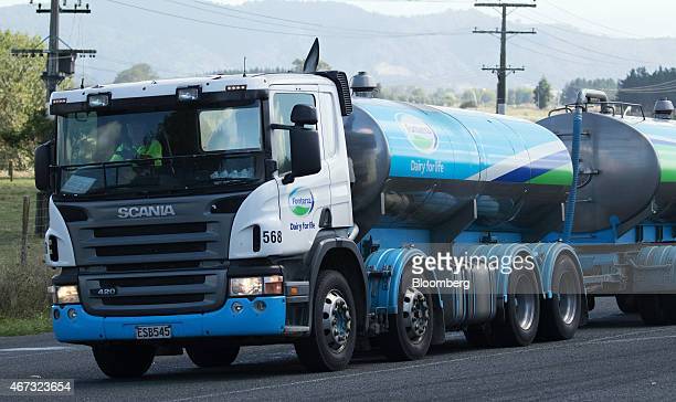 A Fonterra Cooperative Group Ltd milk tanker truck departs from the company's processing plant in Hamilton New Zealand on Thursday March 19 2015...