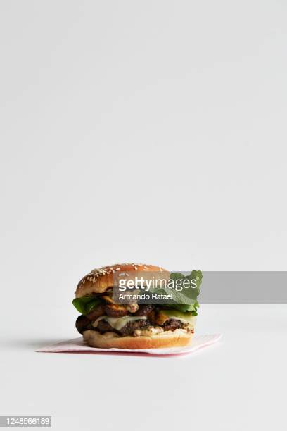 fontina grilled mushroom burger - gourmet stock pictures, royalty-free photos & images