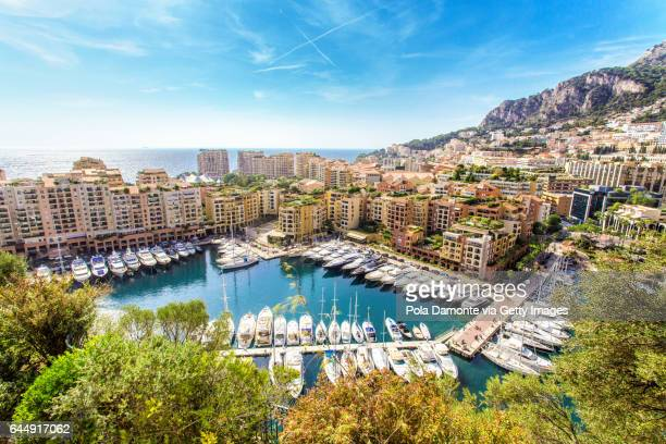 fontvieille port at principality of monaco - monaco stock pictures, royalty-free photos & images