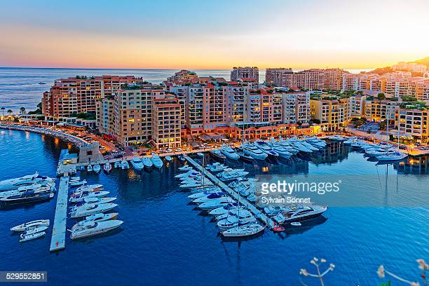 fontvielle, monaco harbour, monaco - monaco stock pictures, royalty-free photos & images