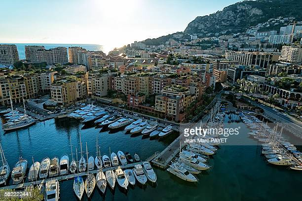 fontvielle, monaco harbour - jean marc payet stock pictures, royalty-free photos & images