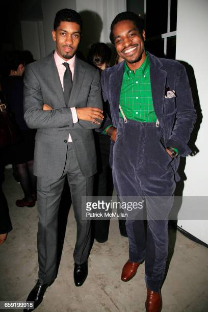 Fonzworth Bentley and Andre 3000 Benjamin attend GQ/CFDA Honor Second Annual Best New Menswear Designer in America Finalists at Rockefeller Center on...