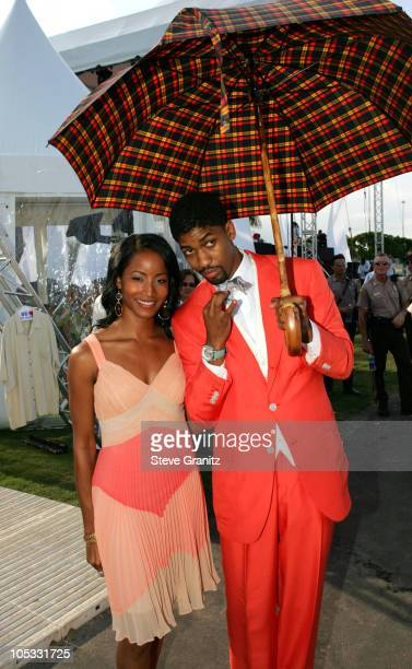 Fonzworth Bentley and Faune Chambers during 2004 MTV Video Music Awards Arrivals at American Airlines Arena in Miami Florida United States