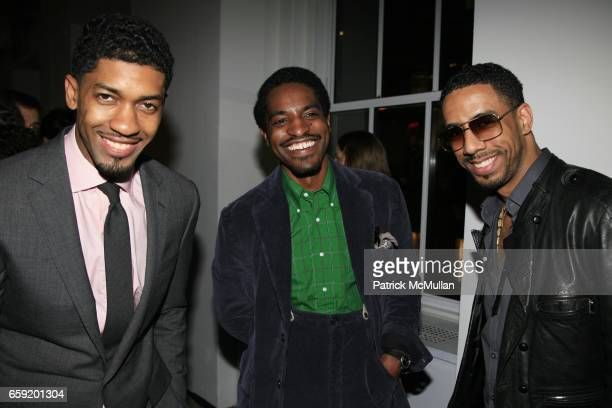 Fonzworth Bentley Andre '3000' Benjamin and Ryan Leslie attend GQ/CFDA Honor Second Annual 'Best New Menswear Designer in America' Finalists at...