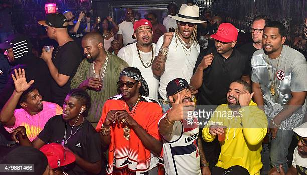 Fonzworth Bentley Kanye West 2 Chainz Future Kenny Burns Alex Gidewon and Drake attends at Compound on June 20 2015 in Atlanta Georgia