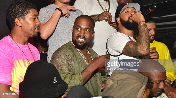 Fonzworth Bentley Kanye West Kenny Burns and Drake attend at Compound on June 20 2015 in Atlanta Georgia