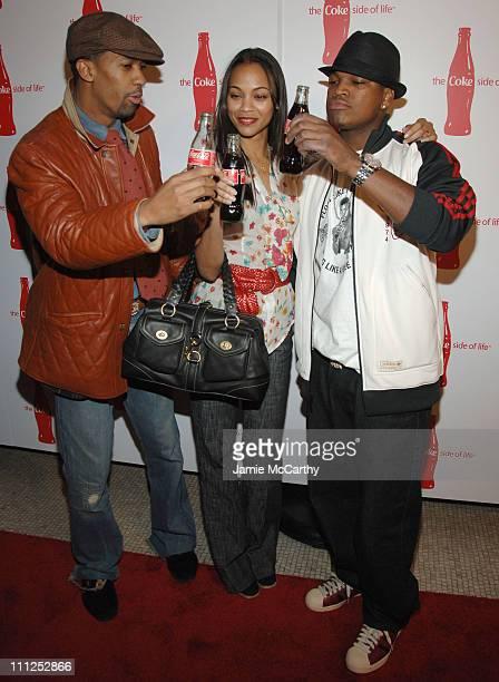 Fonzworth Bentley Zoe Saldana and NeYo during Coca Cola's Coke Side Of Life Launch Party at Capitale in New York City at Capitale in New York City...