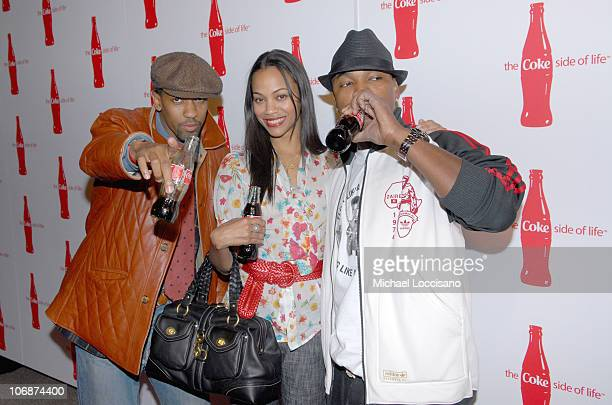 Fonzworth Bentley Zoe Saldana and NeYo during CocaCola's Coke Side Of Life Launch Party with a Performance by NeYo March 30 2006 at Capitale in New...