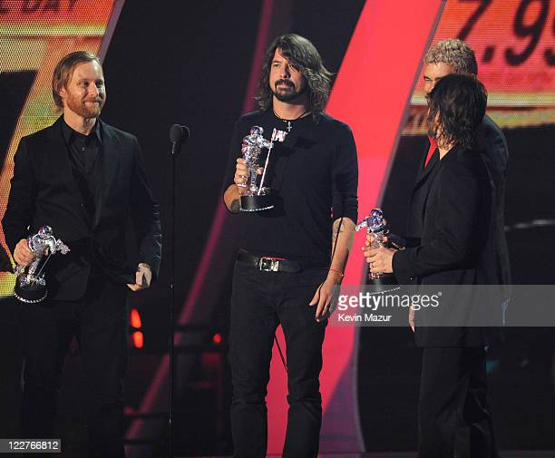 Foo Fighters accept award on stage at the The 28th Annual MTV Video Music Awards at Nokia Theatre LA LIVE on August 28 2011 in Los Angeles California