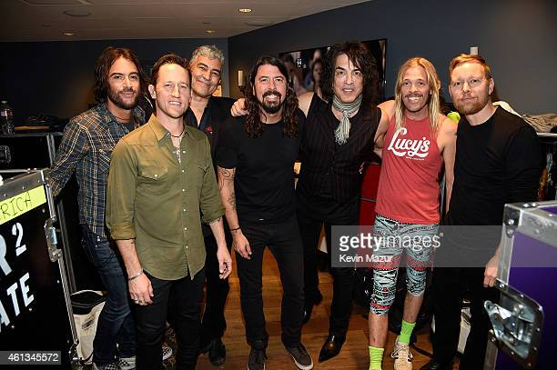Foo Fighters and Paul Stanley backstage during Dave Grohl's birthday bash at The Forum on January 10 2015 in Inglewood California