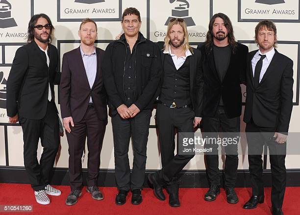 Foo Fighters arrive at The 58th GRAMMY Awards at Staples Center on February 15 2016 in Los Angeles California