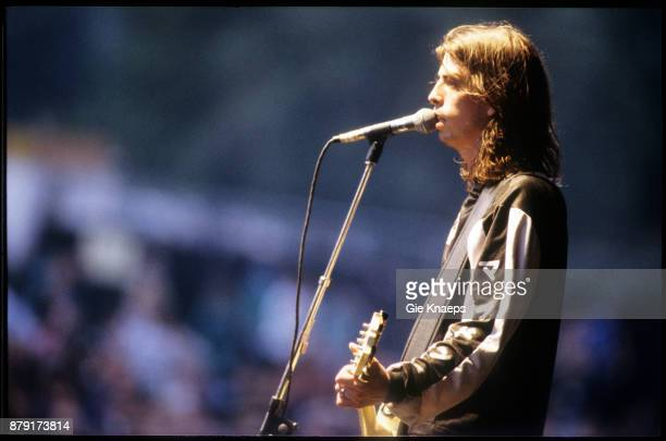 Foo Fighters, Dave Grohl, performing on stage, Pukkelpop Festival, Hasselt, Belgium, 25th August 1995.