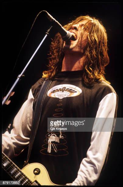 Foo Fighters Dave Grohl performing on stage Pukkelpop Festival Hasselt Belgium 25th August 1995