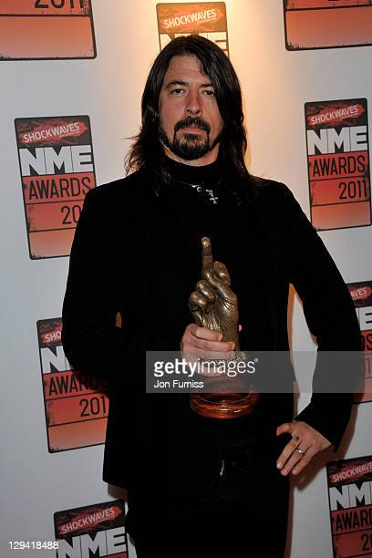 Foo Fighter's frontman Dave Grohl arrives for the NME Awards 2011 at Brixton Academy on February 23, 2011 in London, England.