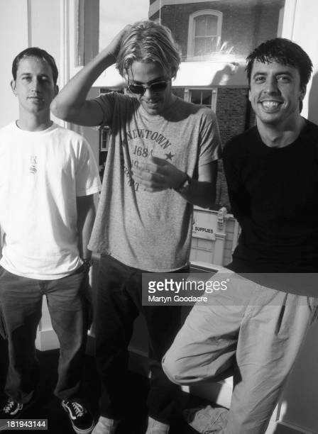 Foo Fighters group portrait London 1997 L to R Pat Smear Taylor Hawkins Dave Grohl