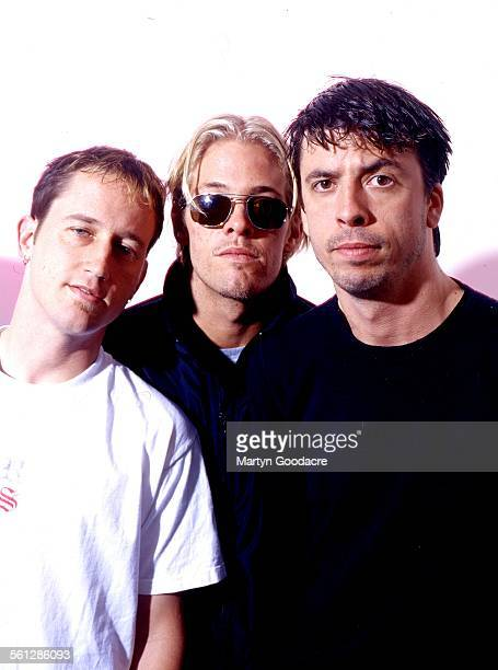 Foo Fighters group portrait London United Kingdom 1997 LR Chris Shiflett Taylor Hawkins and Dave Grohl