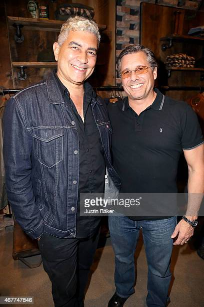 Foo Fighters guitarist Pat Smear and Kevin Mazur attend A Tribute To Rock Roll hosted by Schott NYC Featuring Photographs from Photographer Kevin...