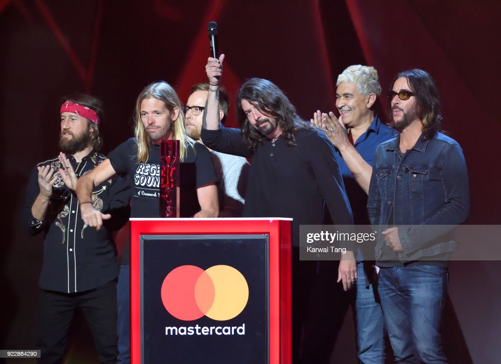 Foo Fighters, winners of Best International Group, on stage at The BRIT Awards 2018 held at The O2 Arena on February 21, 2018 in London, England.