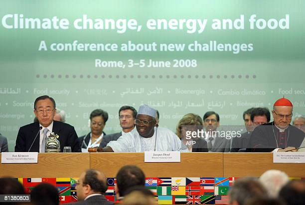 UN food agency chief Jacques Diouf UN Secretary General Ban Kimoon and Cardinal Tarcisio Bertone attend a conference during a threeday summit on food...