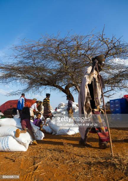 Food aid bags are given to Borana people during the drought Oromia Yabelo Ethiopia on March 3 2017 in Yabelo Ethiopia
