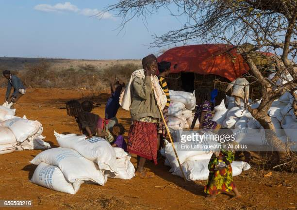 Food aid bags given to Borana people are seen on the ground during the drought Oromia Yabelo Ethiopia on March 3 2017 in Yabelo Ethiopia