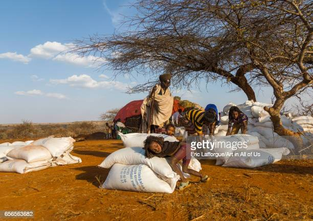 Food aid bags given to Borana people during the drought Oromia Yabelo Ethiopia on March 3 2017 in Yabelo Ethiopia
