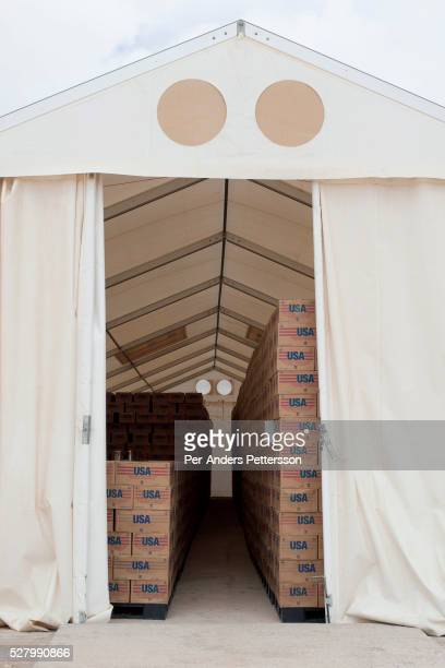 Food Aid from the Unitet States is stored at a WFP World Food Program storage facility as they are preparing for the twice monthly food handout in...