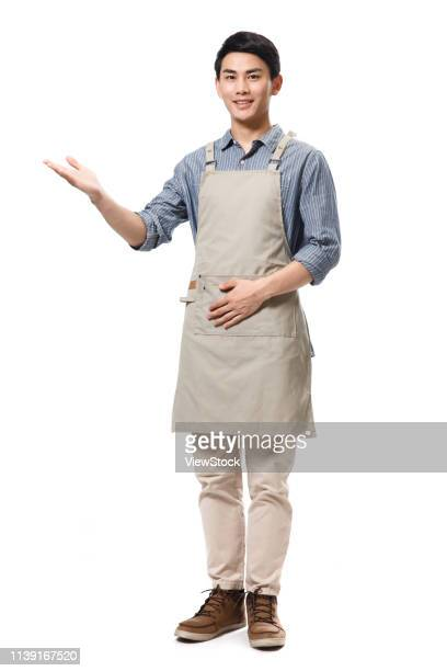 food and beverage service staff - apron stock pictures, royalty-free photos & images