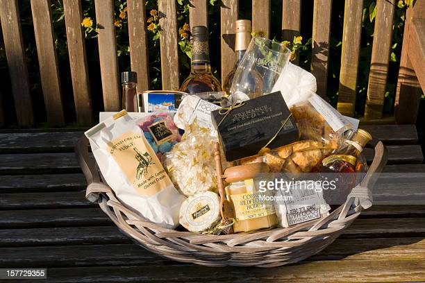 food and drink made in cornwall, devon - basket stock photos and pictures