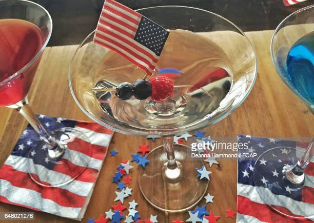 Food and drink with American flag on table