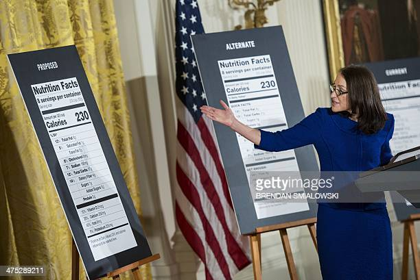Food and Drug Administration Commissioner Margaret Hamburg speaks during a health event in the East Room of the White House February 27 2014 in...