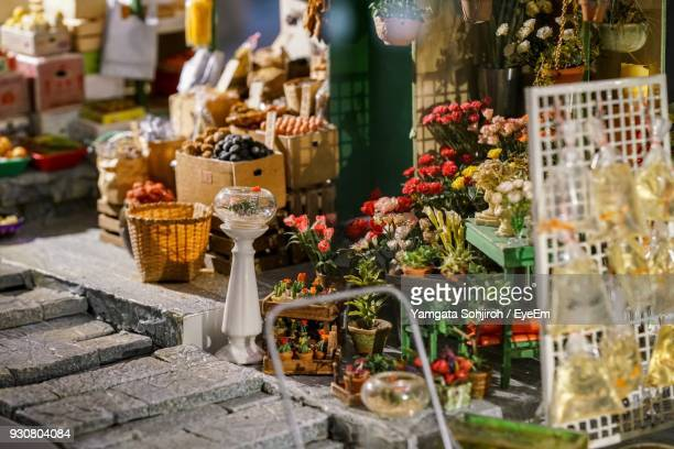 Food And Flowers For Sale At Market