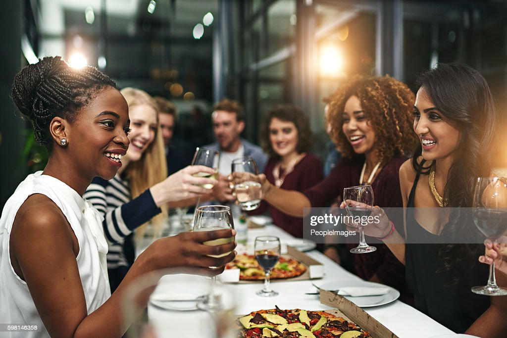 Food and friendship is always winning combination : Stock Photo