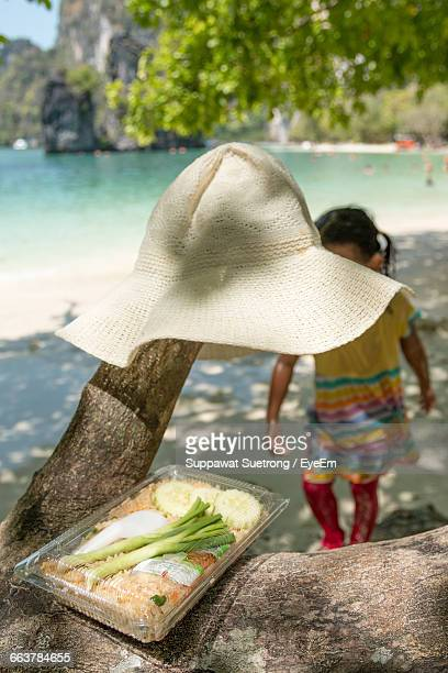 Food And Hat On Tree At Beach